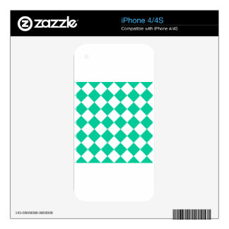 Diag Checkered - White and Caribbean Green Skin For The iPhone 4S
