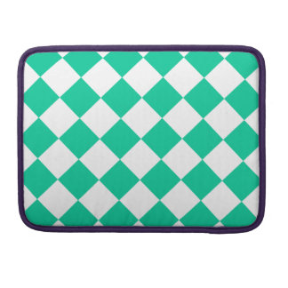 Diag Checkered - White and Caribbean Green Sleeve For MacBooks