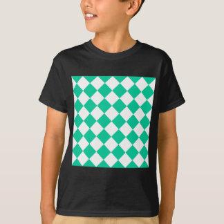Diag Checkered - White and Caribbean Green T-Shirt