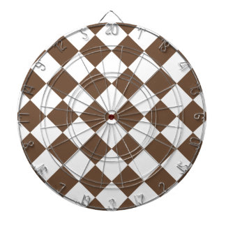 Diag Checkered - White and Coffee Dart Boards