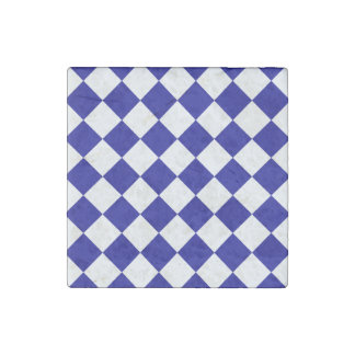 Diag Checkered - White and Dark Blue Stone Magnet