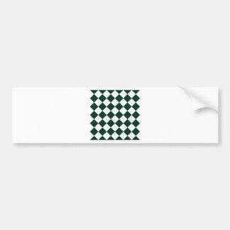 Diag Checkered - White and Dark Green Bumper Sticker