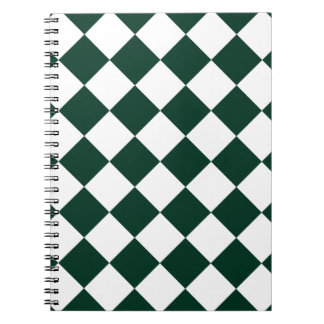 Diag Checkered - White and Dark Green Notebook