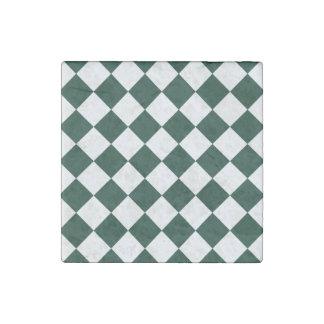 Diag Checkered - White and Dark Green Stone Magnet