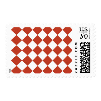 Diag Checkered - White and Dark Pastel Red Postage