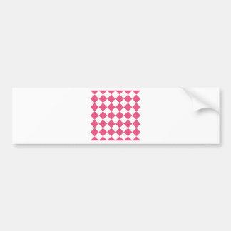 Diag Checkered - White and Dark Pink Bumper Sticker