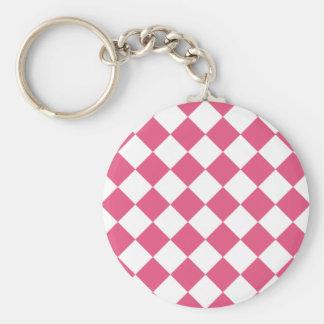 Diag Checkered - White and Dark Pink Keychain