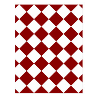 Diag Checkered - White and Dark Red Postcard