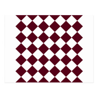 Diag Checkered - White and Dark Scarlet Postcard