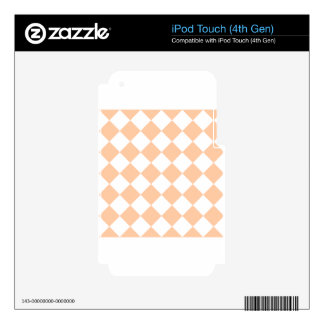 Diag Checkered - White and Deep Peach iPod Touch 4G Skins