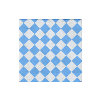 Diag Checkered - White and Dodger Blue Stone Magnet