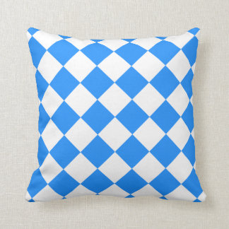 Diag Checkered - White and Dodger Blue Pillow