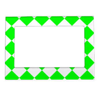 Diag Checkered - White and Electric Green Magnetic Picture Frame
