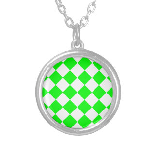 Diag Checkered - White and Electric Green Silver Plated Necklace