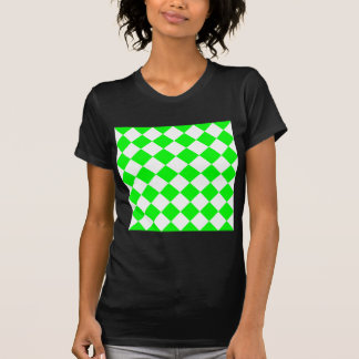 Diag Checkered - White and Electric Green T-Shirt