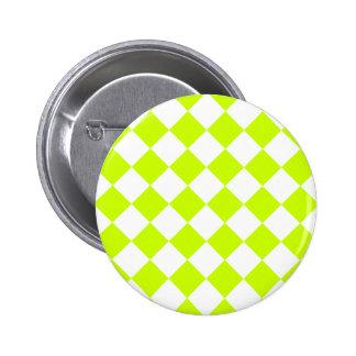 Diag Checkered - White and Fluorescent Yellow Pinback Button