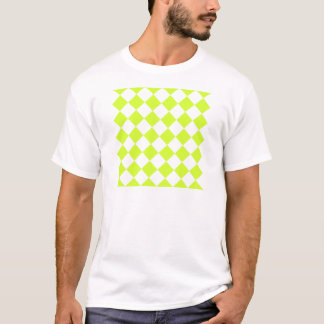 Diag Checkered - White and Fluorescent Yellow T-Shirt