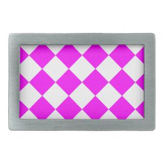 Diag Checkered - White and Fuchsia Belt Buckles