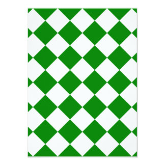 Diag Checkered - White and Green 5.5x7.5 Paper Invitation Card