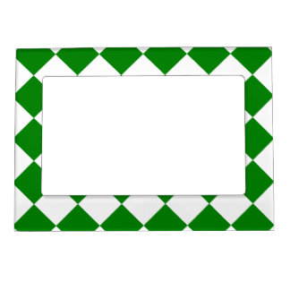 Diag Checkered - White and Green Photo Frame Magnet