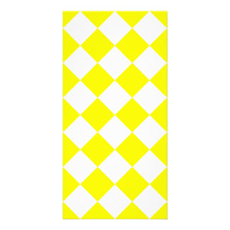 Diag Checkered - White and Lemon Card