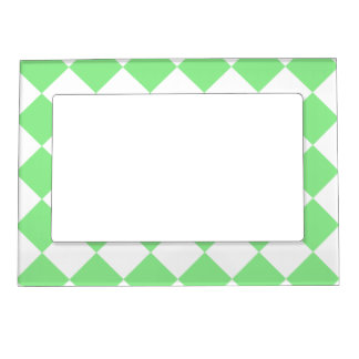 Diag Checkered - White and Light Green Magnetic Frame