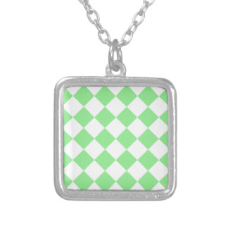 Diag Checkered - White and Light Green Silver Plated Necklace