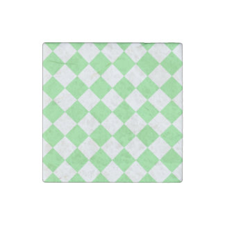 Diag Checkered - White and Light Green Stone Magnet