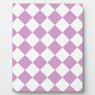 Diag Checkered - White and Light Medium Orchid Plaque