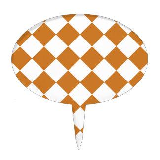 Diag Checkered - White and Ochre Cake Pick