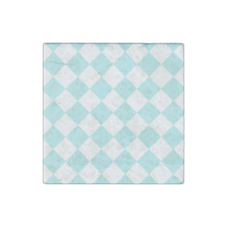 Diag Checkered - White and Pale Blue Stone Magnet