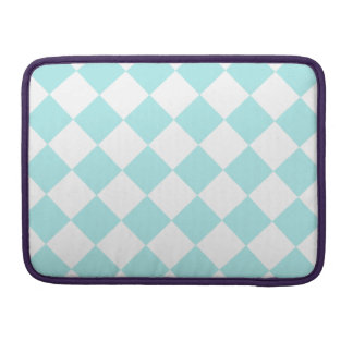 Diag Checkered - White and Pale Blue MacBook Pro Sleeves
