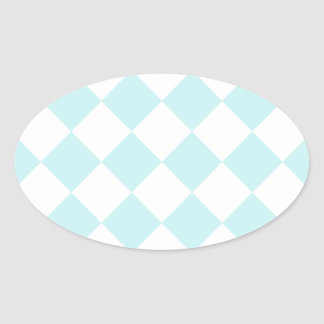 Diag Checkered - White and Pale Blue Oval Stickers