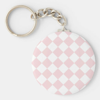 Diag Checkered - White and Pale Pink Keychain