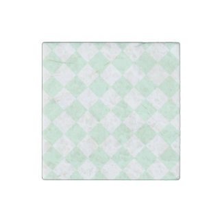 Diag Checkered - White and Pastel Green Stone Magnet