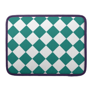 Diag Checkered - White and Pine Green Sleeves For MacBook Pro