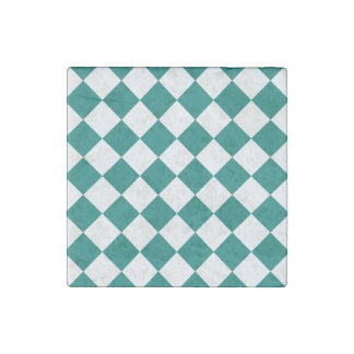 Diag Checkered - White and Pine Green Stone Magnet