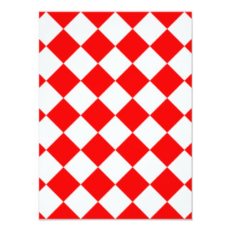 Diag Checkered - White and Red 5.5x7.5 Paper Invitation Card