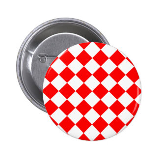 Diag Checkered - White and Red Pinback Button