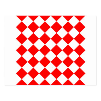 Diag Checkered - White and Red Postcard