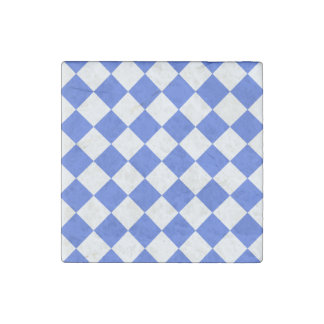 Diag Checkered - White and Royal Blue Stone Magnet