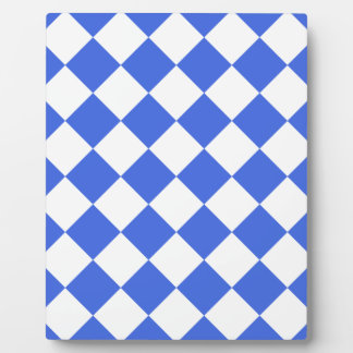 Diag Checkered - White and Royal Blue Plaque