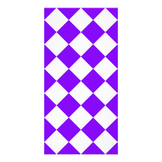 Diag Checkered - White and Violet Card