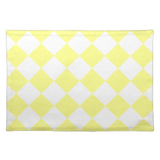 Diag Checkered - Yellow and Light Yellow Cloth Placemat