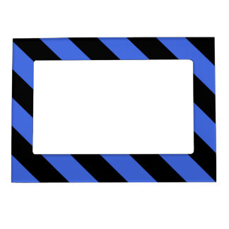 Diag Stripes - Black and Royal Blue Magnetic Picture Frame