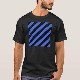 Diag Stripes - Black and Royal Blue T-Shirt