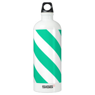 Diag Stripes - White and Caribbean Green Aluminum Water Bottle