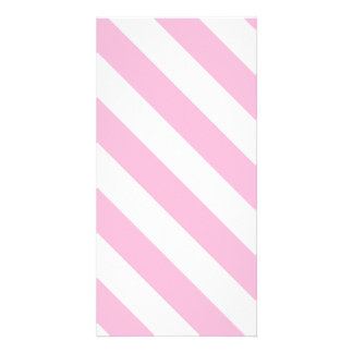 Diag Stripes - White and Cotton Candy Photo Greeting Card