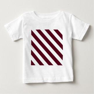 Diag Stripes - White and Dark Scarlet Baby T-Shirt