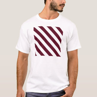 Diag Stripes - White and Dark Scarlet T-Shirt